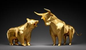 Bulle und Bär Polygon Gold vor Schwarz