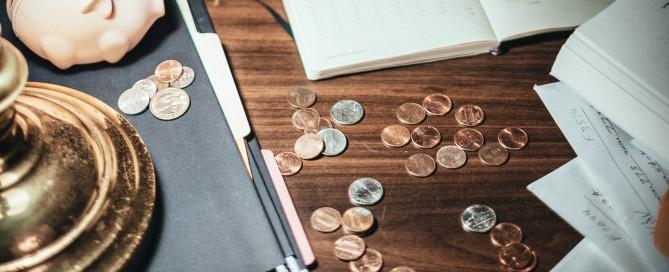 Coins on a desk